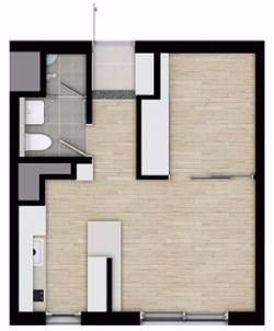 2베이 구조로 설계된 전용 29㎡ 오피스텔의 평면도. 신영 제공