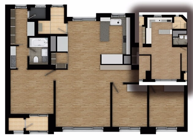 판상형 LDK 구조의 전용 95㎡와 일반 판상형(오른쪽 작은 그림). 거실에서 주방까지의 구조가 다르다.