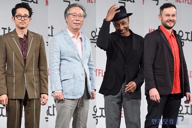 '옥자' 스티븐 연, 변희봉, 지안카를로 에스포지토, 다니엘 헨셜  /사진=변성현 기자