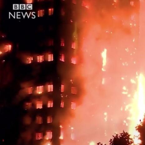 런던 화재. 사진=BBC 뉴스 캡처