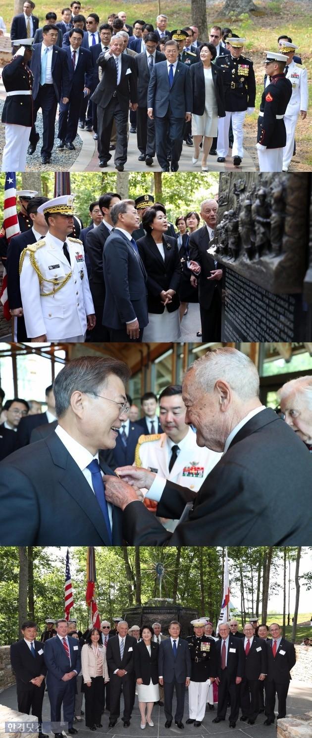 문재인 대통령 장진호 전투 기념비 방문 /사진=청와대 사진공동취재단 허문찬 기자 sweat@hankyung.com