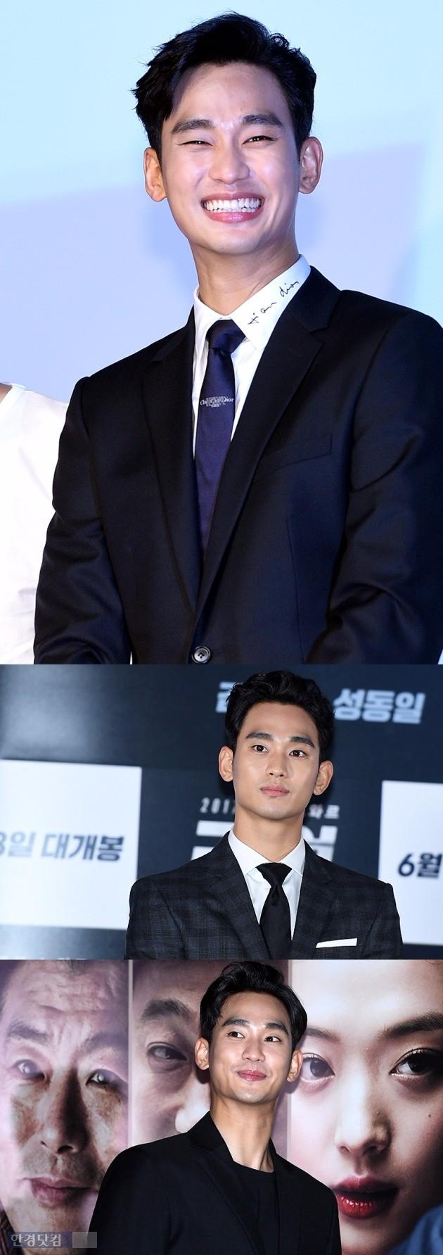영화 '리얼'의 제작발표회, 언론시사회 전과 후의 김수현. 부쩍 수척한 모습이다. /사진=한경DB