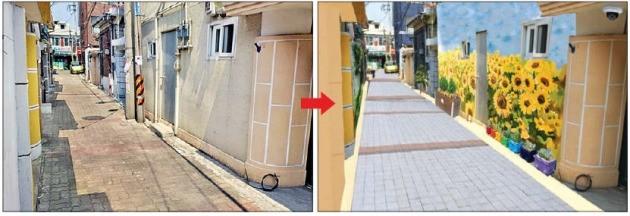 서울 장위동과 상도4동이 도시재생 사업으로 탈바꿈한다. 장위동의 낙후된 골목(왼쪽)이 보행환경개선사업으로 새 단장한 후의 예시도. 서울시 제공