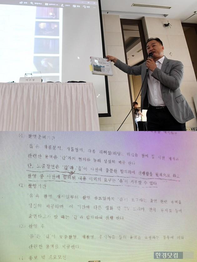 '전망 좋은 집' 이수성 감독이 기자회견서 곽현화 계약서를 보여주고 있다.  /사진=최혁 기자