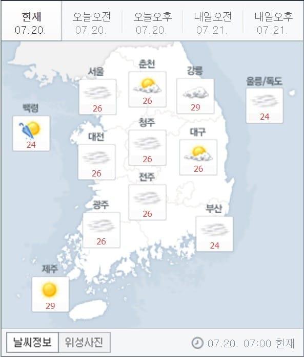 7월20일 날씨. (자료 = 네이버 캡처)