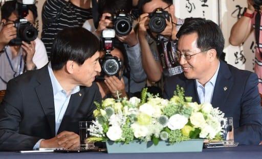 김동연 부총리 겸 기획재정부 장관, 이주열 한국은행 총재. (자료 = 한경DB)