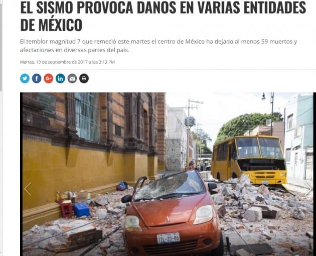 19일(현지시간) 멕시코시티 인근 강진을 보도하고 있는 CNN 멕시코 <홈페이지 캡처>