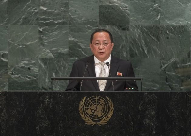 리용호 외무상 UN 연설 모습. 사진=UN 홈페이지