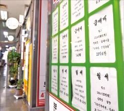 정부의 8·2 부동산 대책이 발표된 지 한 달을 앞둔 8월31일 서울 송파구 트라지움아파트 단지 상가 내 한 부동산중개업소에 급매물이 붙어 있다.  한경DB