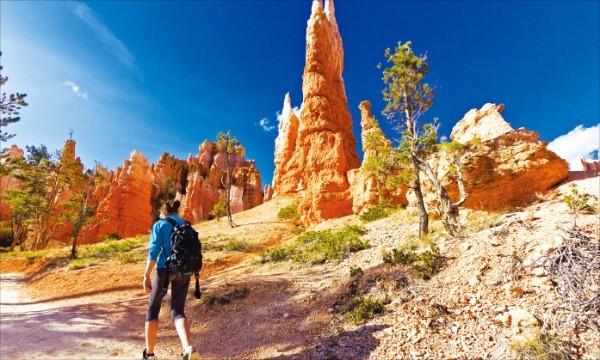퀸즈 가든-나바호 루프 트레일을 관광객이 걷고 있다. 미국관광청 제공