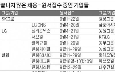 SK그룹·LG CNS·한화테크윈…대기업 채용은 계속된다