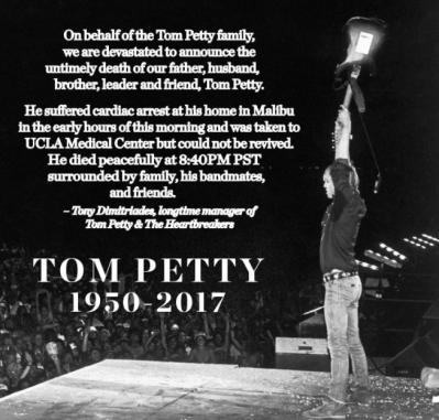 '하트브레이커스' 톰 페티, 심장마비로 사망…향년 66세