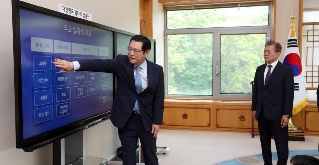 청와대 일자리상황판을 보고 있는 문재인 대통령(오른쪽). 청와대사진기자단