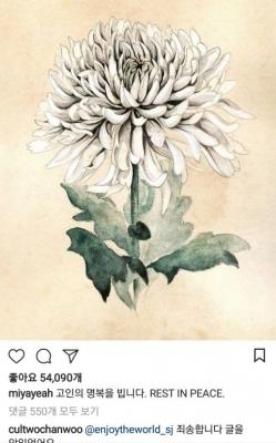 정찬우, 선미 김주혁 애도 글에 '꽃 예쁘네' 영혼없는 댓글 '빈축'