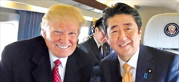 도널드 트럼프 미국 대통령(왼쪽)과 아베 신조 일본 총리. / 사진=트럼프 대통령 트위터