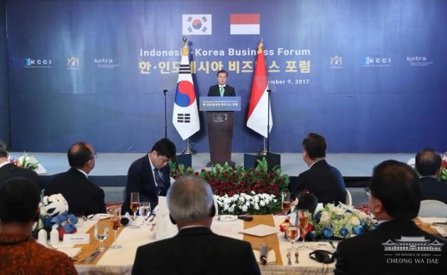문재인 대통령이 지난 9일 한-인도네시아 비즈니스 포럼에 참석해 '신(新)남방정책' 추진을 선언했다. 출처-청와대 홈페이지