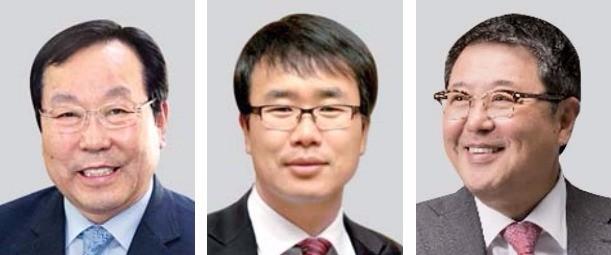 박희원 라이온켐텍 대표(왼쪽부터), 진양곤 에이치엘비 회장, 김정와뉴 매일유업 회장.