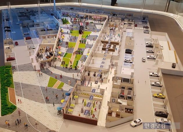 주차장과 연계된 동선이 돋보이는 '광교 브릭스톤' 모형. 전형진 기자