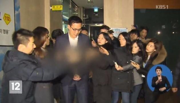 지난 1월 사진 경찰 조사를 받은 김동선 씨. 사진=KBS캡처