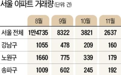 서울 아파트 거래량 뚝·뚝·뚝…하루 176건 작년의 '반토막'