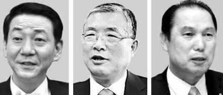 (왼쪽부터)권용원 키움증권 사장, 손복조 토러스투자증권 회장, 황성호 전 우리투자증권 사장.