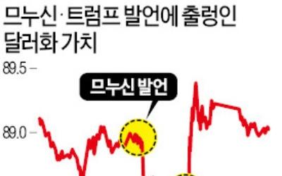 """트럼프 """"강달러 원한다""""… 므누신 발언 하루만에 뒤집자 시장 '요동'"""