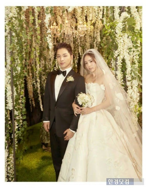 지난 3일 결혼식을 올리 태양(왼쪽)과 민효린. / 사진=와이지엔터 제공