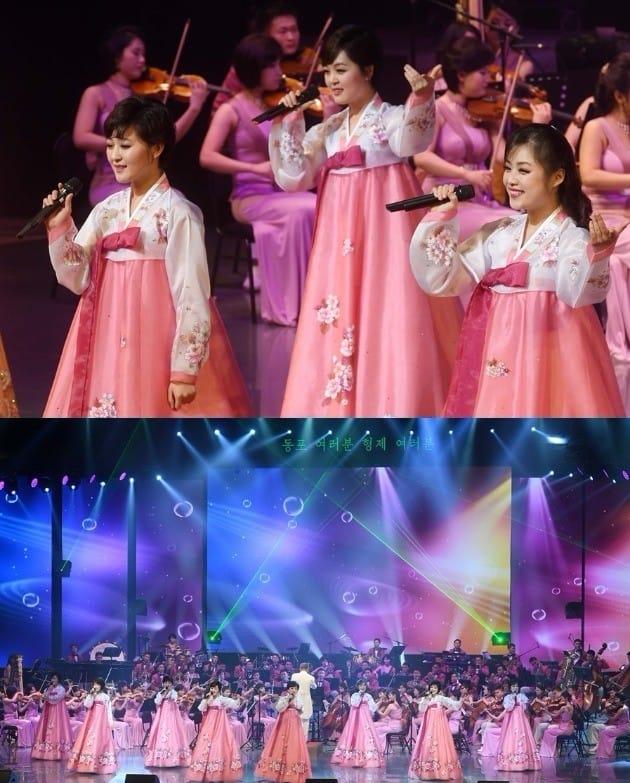 북한 예술단이 8일 열린 공연에서  한국 가요 'J에게', '남자는 배 여자는 항구' 등을 열창했다. /사진=연합뉴스