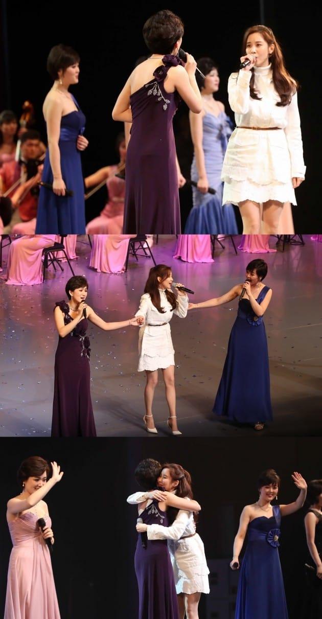소녀시대 서현이 북한 예술단 서울공연에 등장했다. 이날 현송월 단장도 이례적으로 노래를 불렀다. /사진=연합뉴스