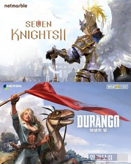 넷마블의 '세븐나이츠2'(위쪽), 넥슨의 '야생의 땅: 듀랑고'. / 사진=양사 제공