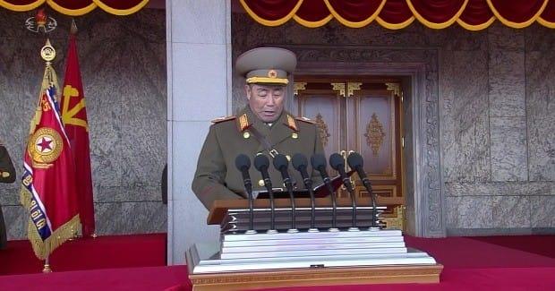 조선중앙TV가 지난 8일 오후 녹화 중계한 '건군절' 70주년 기념 열병식에서 발언하는 김정각. / 사진=연합뉴스