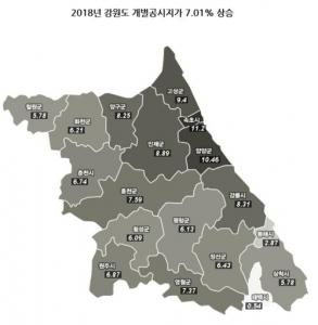 춘천 명동 입구 ㎡당 1154만원… 11년째 강원지역 땅값 1위