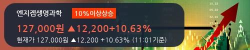[한경로보뉴스] '엔지켐생명과학' 10% 이상 상승, 외국인, 기관 각각 19일 연속 순매수, 4일 연속 순매도