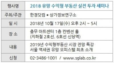 [한경 부동산] 유망 수익형 부동산 실전 투자 세미나…마감 임박