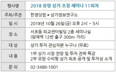 [한경부동산] 26일(금) 유망 상가 초청 세미나 개최
