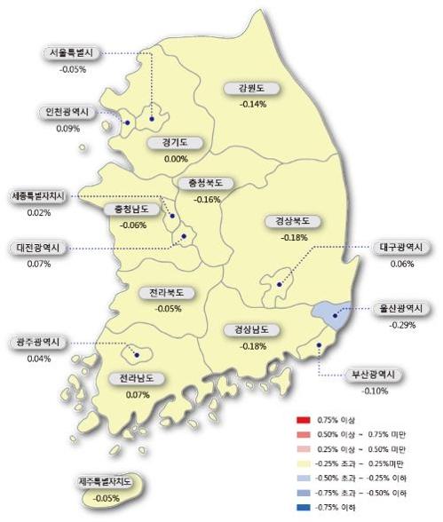 서울 아파트값 하락폭 지난주의 2.5배로 확대…전셋값도 하락
