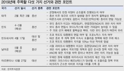 """""""신흥국 투자자, 올해 선거 이슈 주목해야"""""""