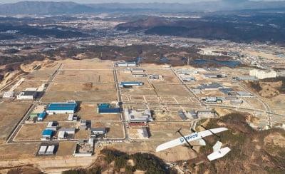 수직이착륙 드론, 국내 최초 건설현장에 도입[영상]