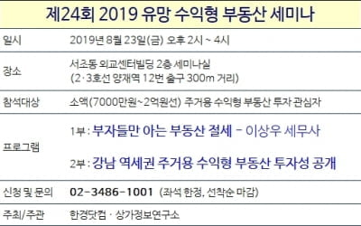 [한경부동산] 2019 유망 수익형 부동산 세미나…23일 개최