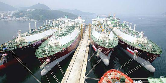 대우조선, LNG선 4척 동시 명명식