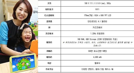 사진= 삼성전자가 출시한 '갤럭시 탭3 키즈(왼쪽)' 및 제품 세부 스펙사항.