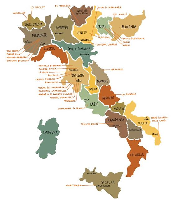 사진=이탈리아 전역 와인 생산지와 대표 와인명을 기재한 이탈리아 와인 지도. 출처=www.svimports.com