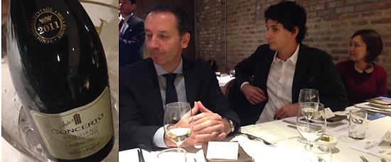 사진= 메디치 에르메테의 콘체르토 와인(왼쪽)과 생산자인 알베르토 메디치씨. 사진=김민성 기자
