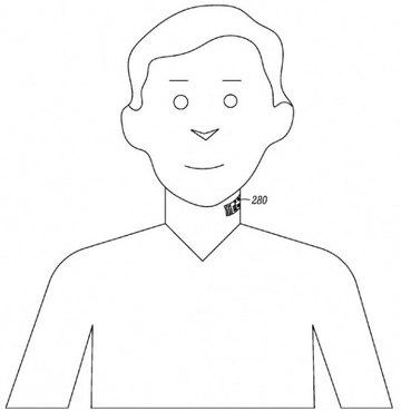 사진= 구글이 개발 중인 '전자문신' 개념도. 기초적인 생체칩 형태로 바코드가 그려져있다.