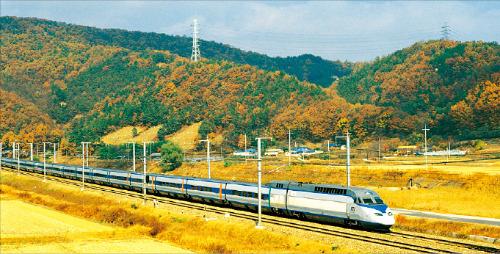 KTX 열차가 단풍을 배경으로 서대전역에서 내장산을 향해 달리고 있다.  /코레일 제공