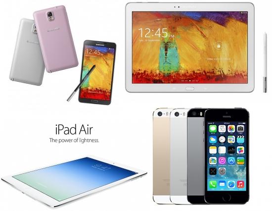 사진= (왼쪽 위부터 시계방향) 삼성전자의 전략 스마트폰 갤럭시노트3와 2014년형 갤럭시노트 10.1, 및 애플의 아이폰 5S, 아이패드 에어.