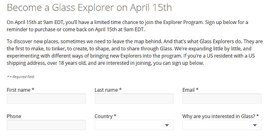4월 15일 구글 글래스 '익스플로러 프로그램' 가입 양식.