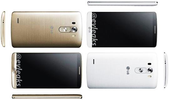 유명 이브릭스(@evleaks)가 공개한 'G3' 실물 추정 사진. ). 이브릭스는 노키아 루미아 및 HTC 원 등 숱한 신제품 사진을 사전에 확보해 공개하기로 유명한 인물이다.