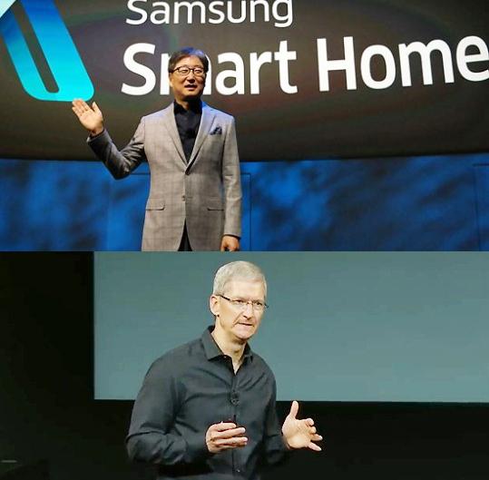 (위) 윤부근 삼성전자 소비자가전(CE) 부문 사장 CES2014 글로벌 컨퍼런스에서 자사 스마트홈 전략을 발표하고 있다.  (아래) 팀 쿡 애플 최고경영자가 지난해 '아이폰5S·C' 발표 키노트 당시 모습.