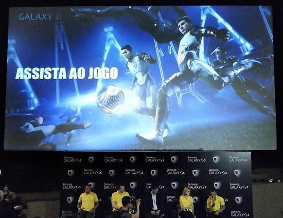 \9일(현지시간) 브라질 상파울루에서 열린 '갤럭시 11 월드투어'에서 '갤럭시 11: 더 매치' 영상 특별 시사회가 진행되는 모습.